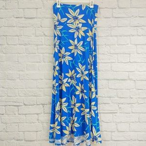 LulaRoe | Maxi Blue Floral Print Skirt